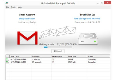screenshot-Free Gmail Backup-1